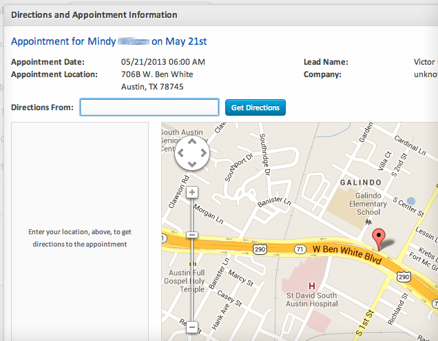 Appointment Directions (screenshot)